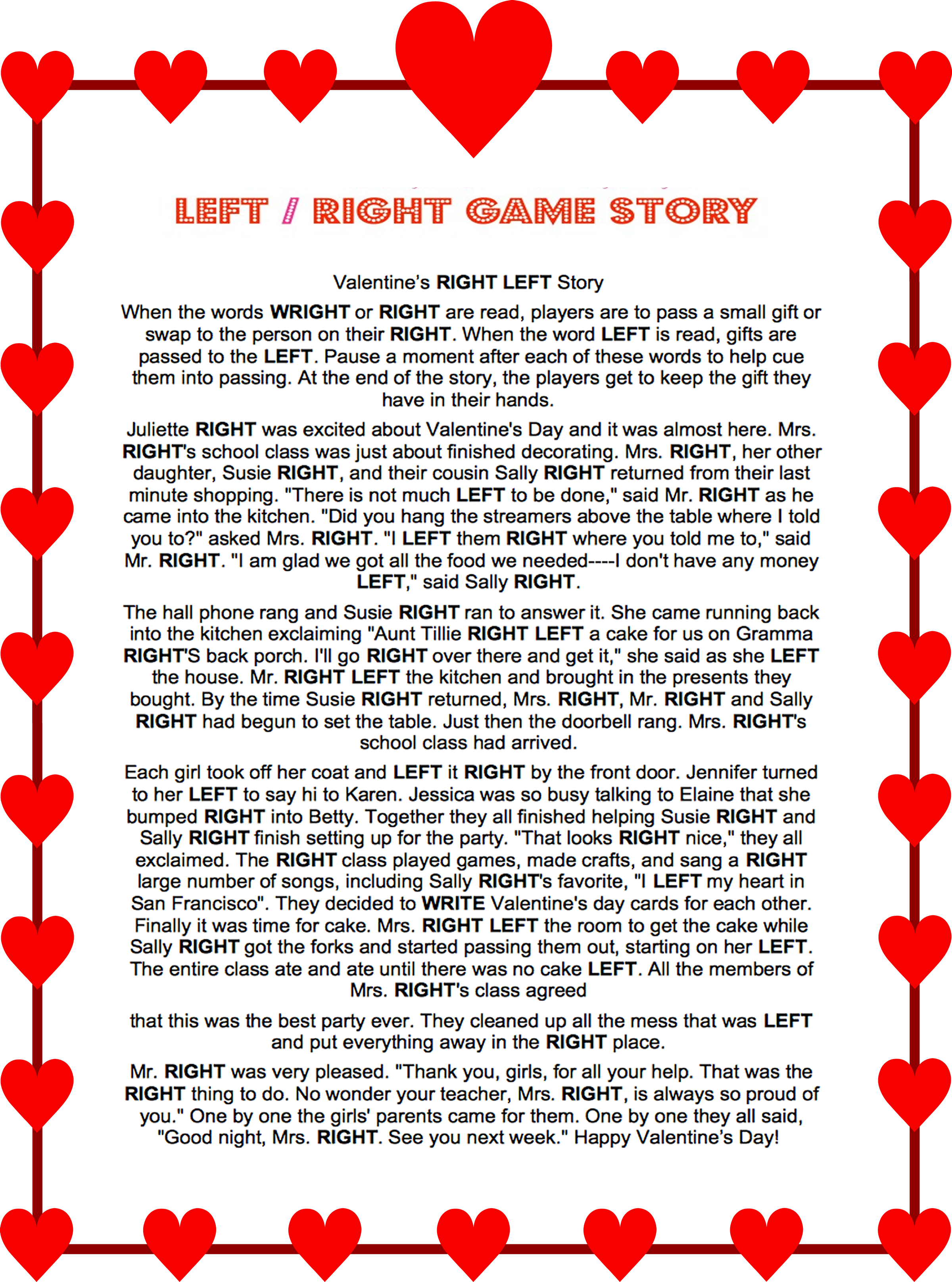 Valentines Day Left Right Story Game Valentines Left Right Game