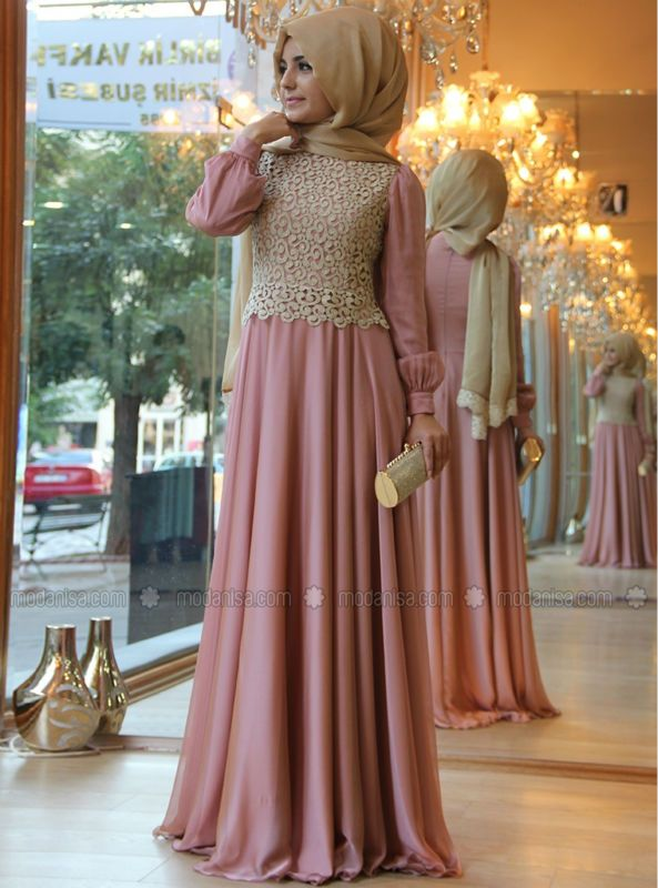 Muslim Dresses High Collar Long Sleeves Pink Chiffon Gold ...