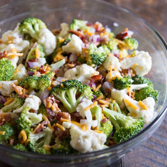 Broccoli Salad With Bacon And Cheese Culinary Hill Recipe Broccoli Salad Bacon Broccoli Salad Cauliflower Salad