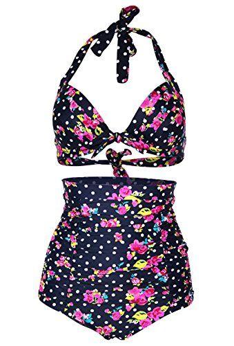 a16d8680a0 Cocoship Flora Print Vintage High Waisted Bikini Swimsuits Swimwear L(FBA)  COCOSHIP http