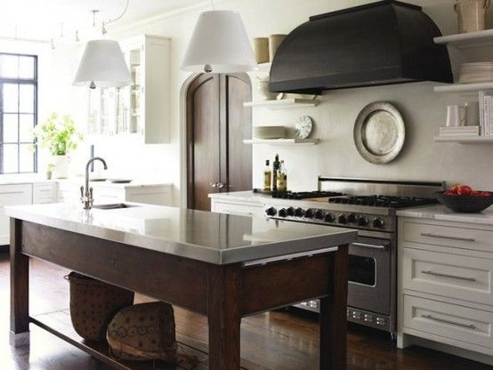 Love The Mix Of Countertops And Wood Base For Island Contrasting With White Cabinets