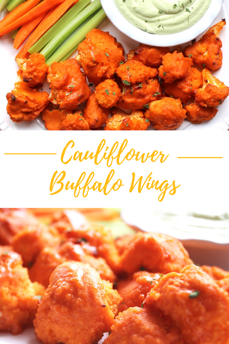 Photo of Buffalo cauliflower wings that are light and moist on the inside and spicy and c…