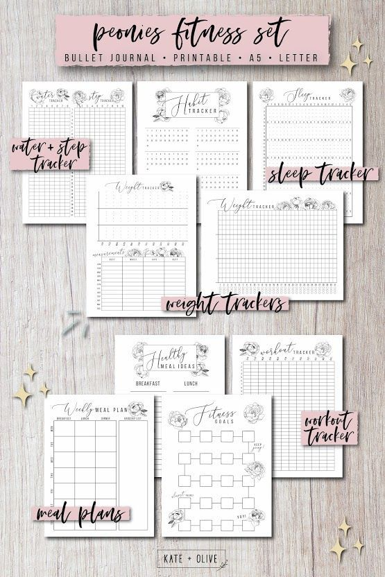 Bullet Journal FITNESS Set of printable planners - Insert templates | Peonies | Instant download PDF...