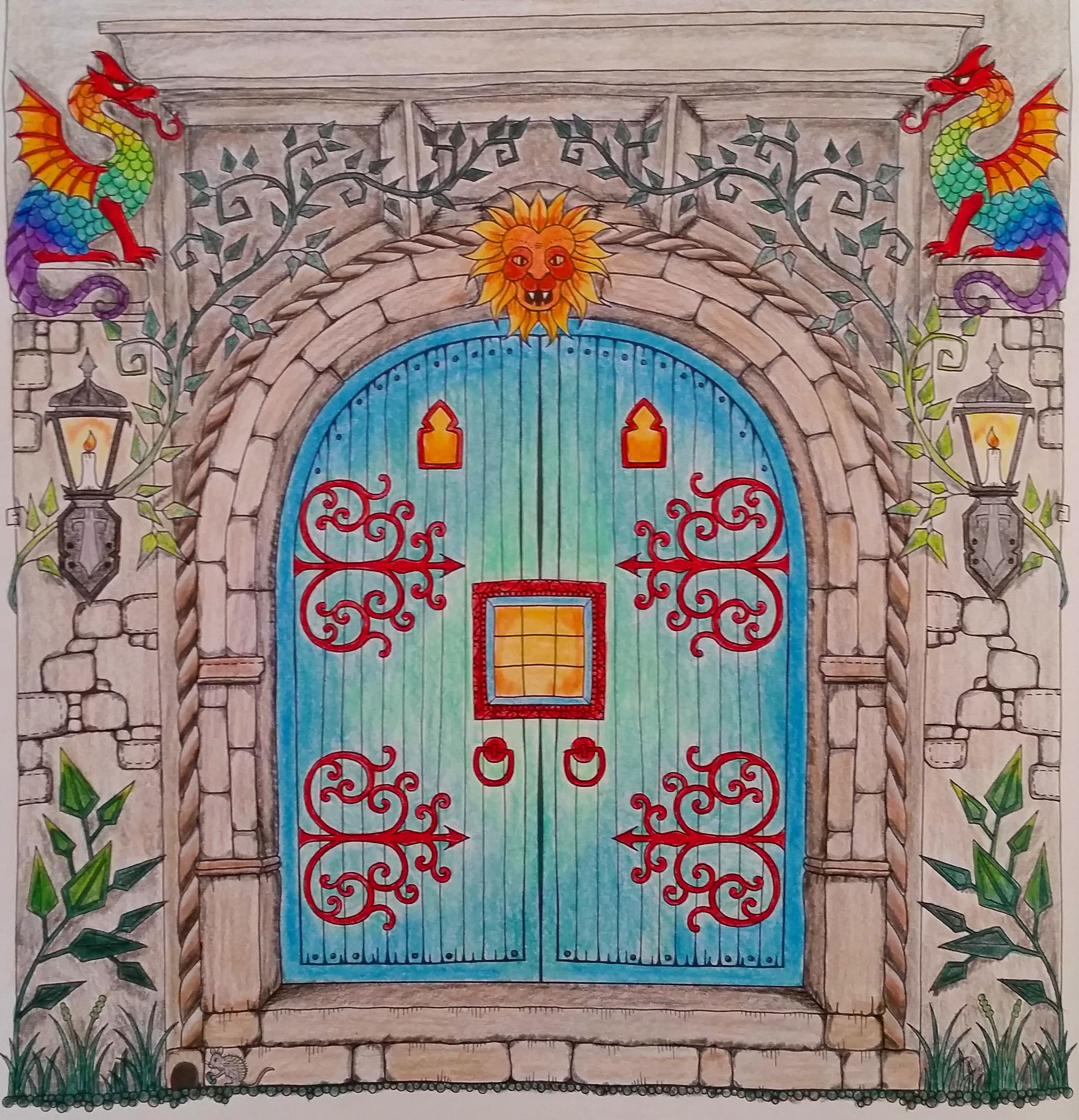 Castle Door--Enchanted Forest--Johanna Basford & Castle Door--Enchanted Forest--Johanna Basford | Finished Coloring ... Pezcame.Com