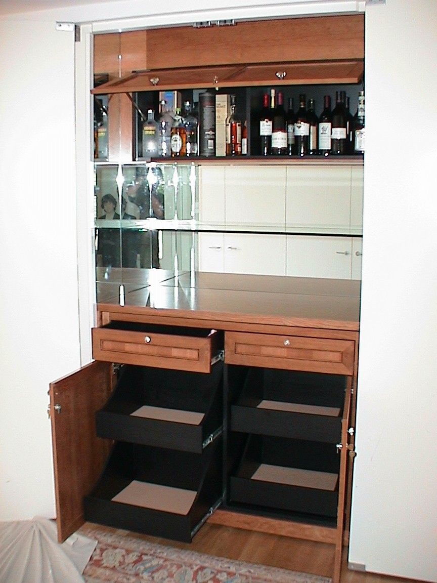 Closet bar with plenty of storage... which is critical