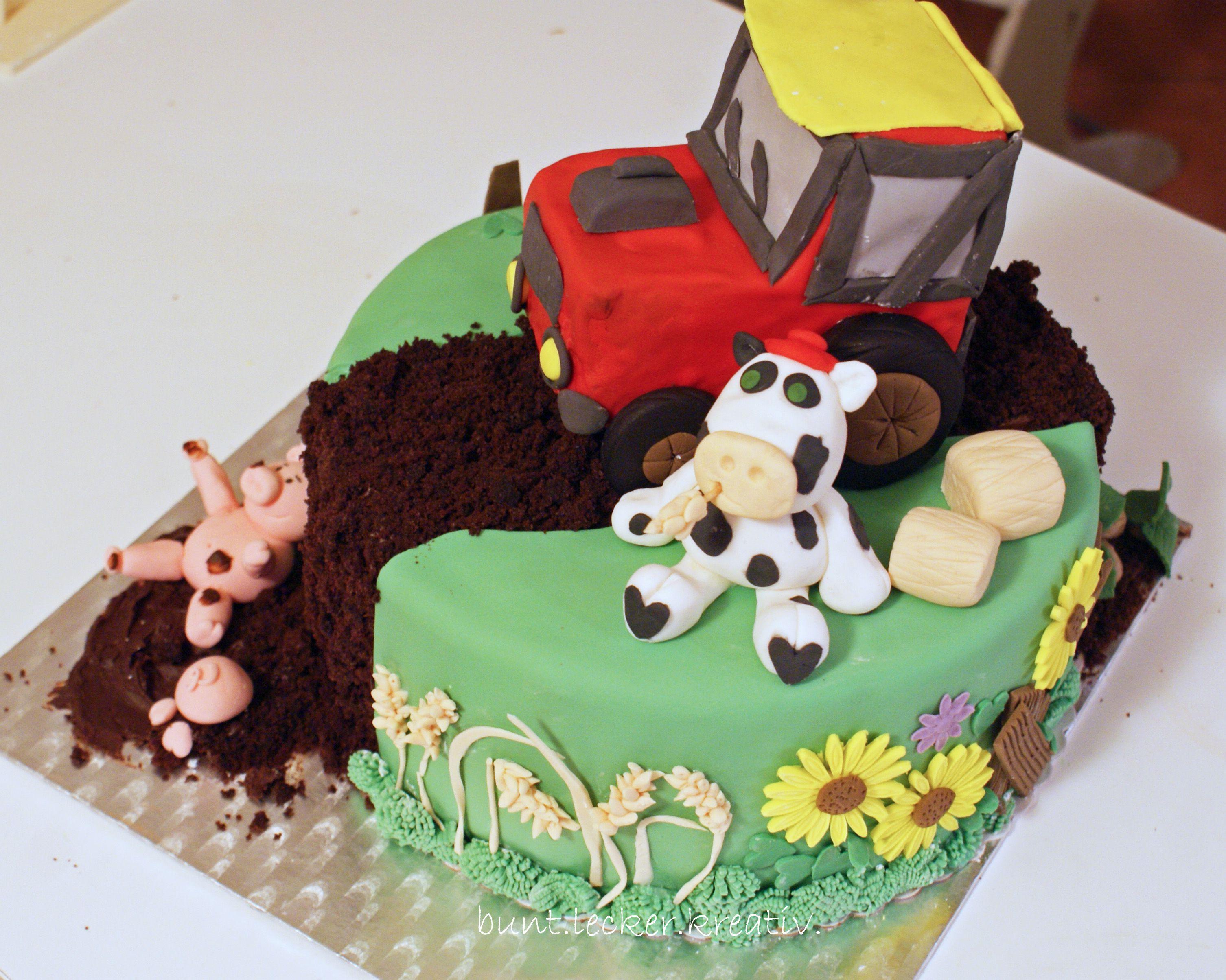 Bauernhof Torte Mit Traktor Kuh Und Schweinchen Backideen