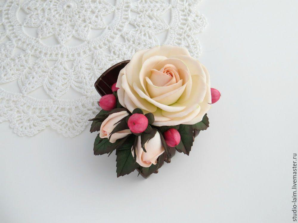 Цветы для прически невесты с застежкой крабик купить доставка цветов в сыктывкаре недорого