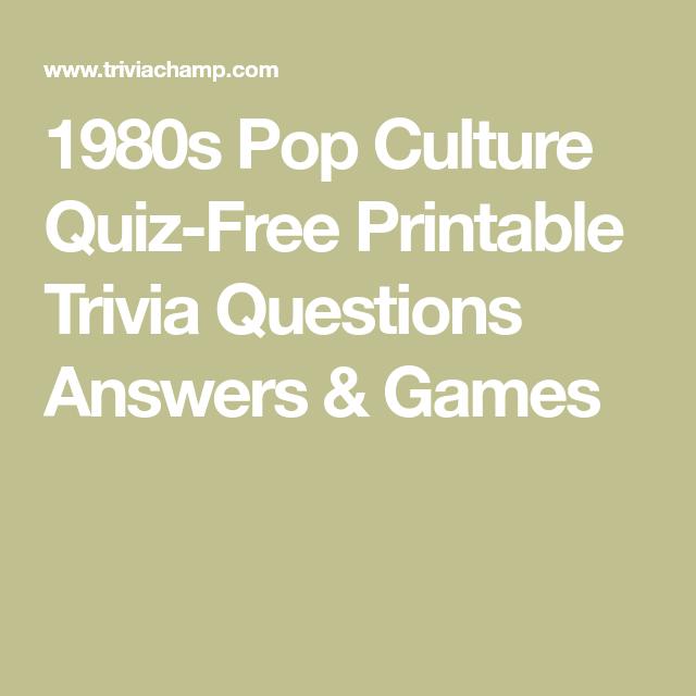 1980s Pop Culture Quiz-Free Printable Trivia Questions