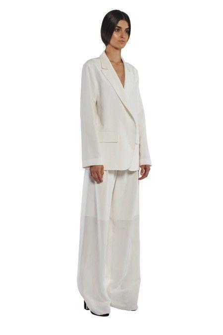 9ed72c72e4ed6 Sexy White Silk Boyfriend Blazer Jacket Silk Boyfriend Jacket FLOW  COLLECTION