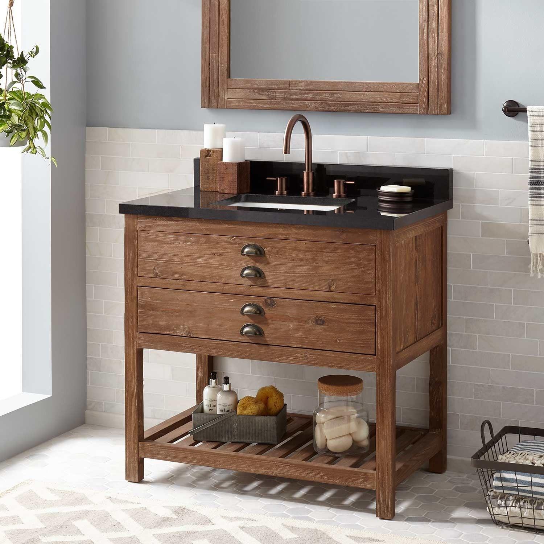 36 Benoist Reclaimed Wood Vanity For Rectangular Undermount Sink Pine Bathroom Vanities Bathroo Reclaimed Wood Vanity Vessel Sink Vanity Bathroom Vanity