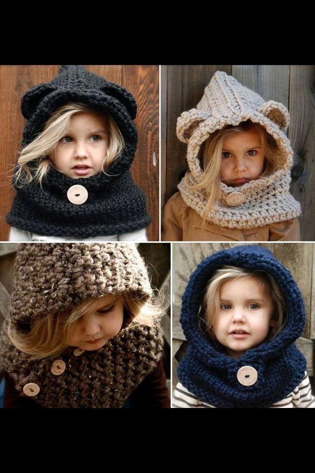 Hand knitted teddy bear hoods for kids!