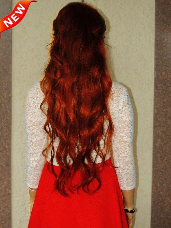 Red Ombre Indian Remy Clip In Hair Extensions Ms16r1 Cool Red Hair