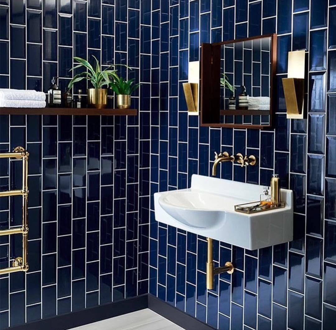 These Navy Blue Tiles Omg Bathrooms Remodel Bathroom Interior Bathroom Inspiration