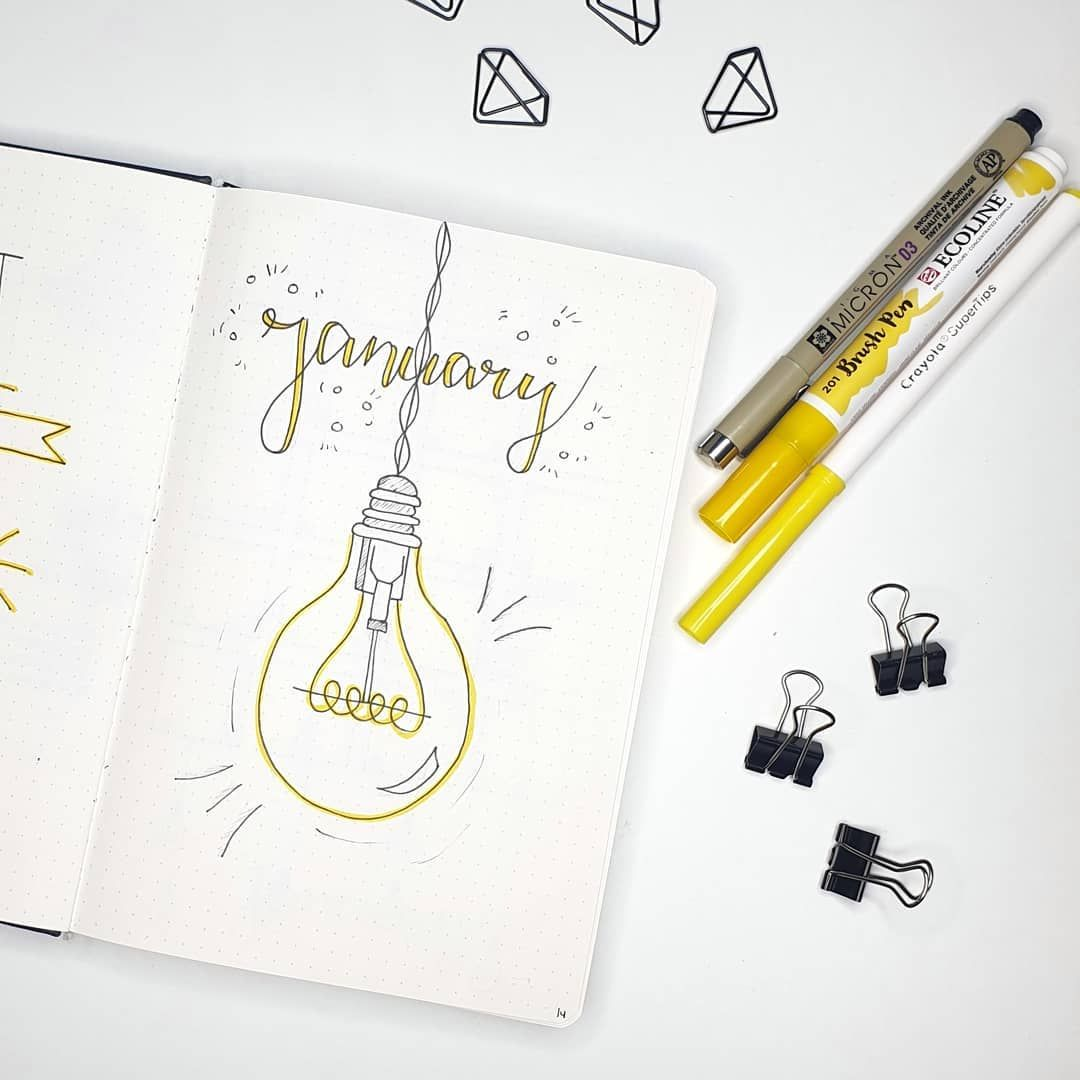 """Lisanne   Bullet journal on Instagram: """"Hello January! This month's theme is light� . . Q: what's your theme this month? . . . #bulletjournal #bujo #journal #bulletjournaladdict…"""""""