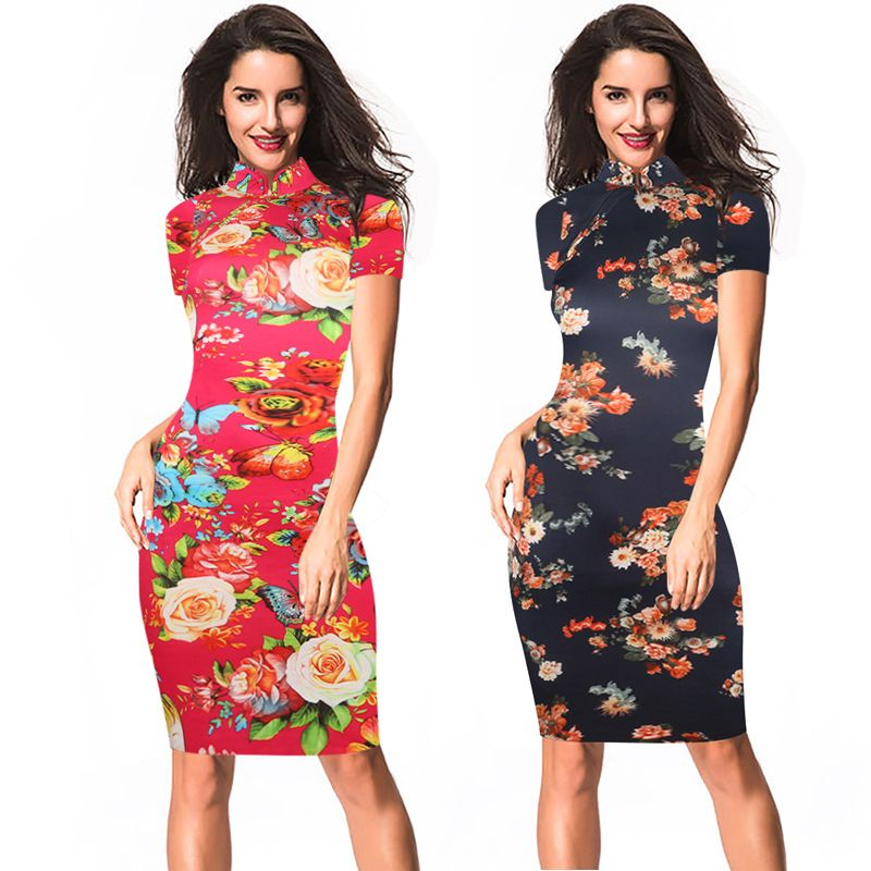 b9008532c Chinese style Womens Sexy Elegant robe Summer Flower printed Slim Casual  Party Fitted Sheath Bodycon Dress vestidos vintage floral