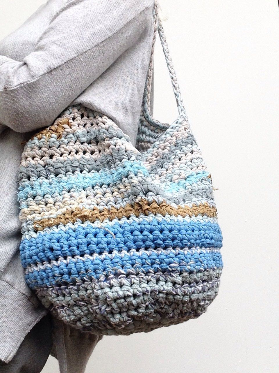 Handmade durable ladies bag of strips recycled fabric and cotton ...