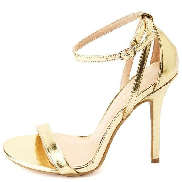 2fd9dd7860b1 Charlotte Russe Metallic Single Strap Heels (40 AUD) ❤ liked on Polyvore  featuring shoes