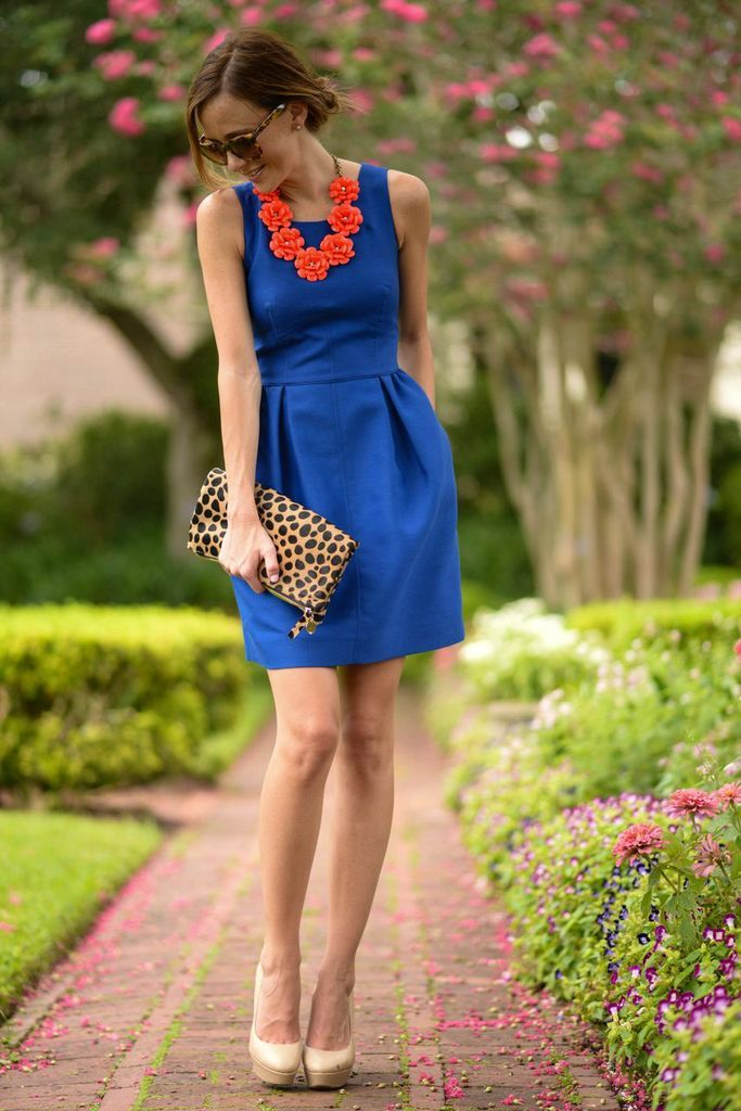 dd1afa2a Cobalt with pockets + coral necklace + leopard clutch + pumps I would  certainly wear this.