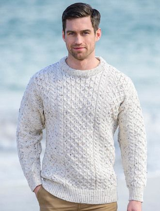 Traditional Merino Aran Sweater Heavyweight, Charcoal