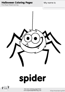 Free spider coloring page from Super Simple Learning Tons of