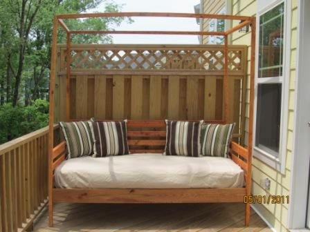 Outdoor pine canopy daybed do it yourself home projects from ana outdoor pine canopy daybed do it yourself home projects from ana white solutioingenieria Choice Image