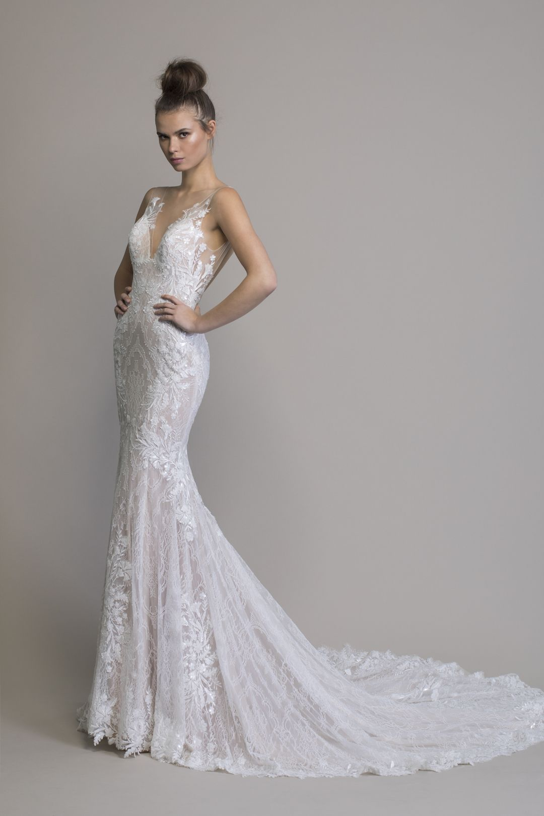 Pnina Tornai Lace V Neck Wedding Dress