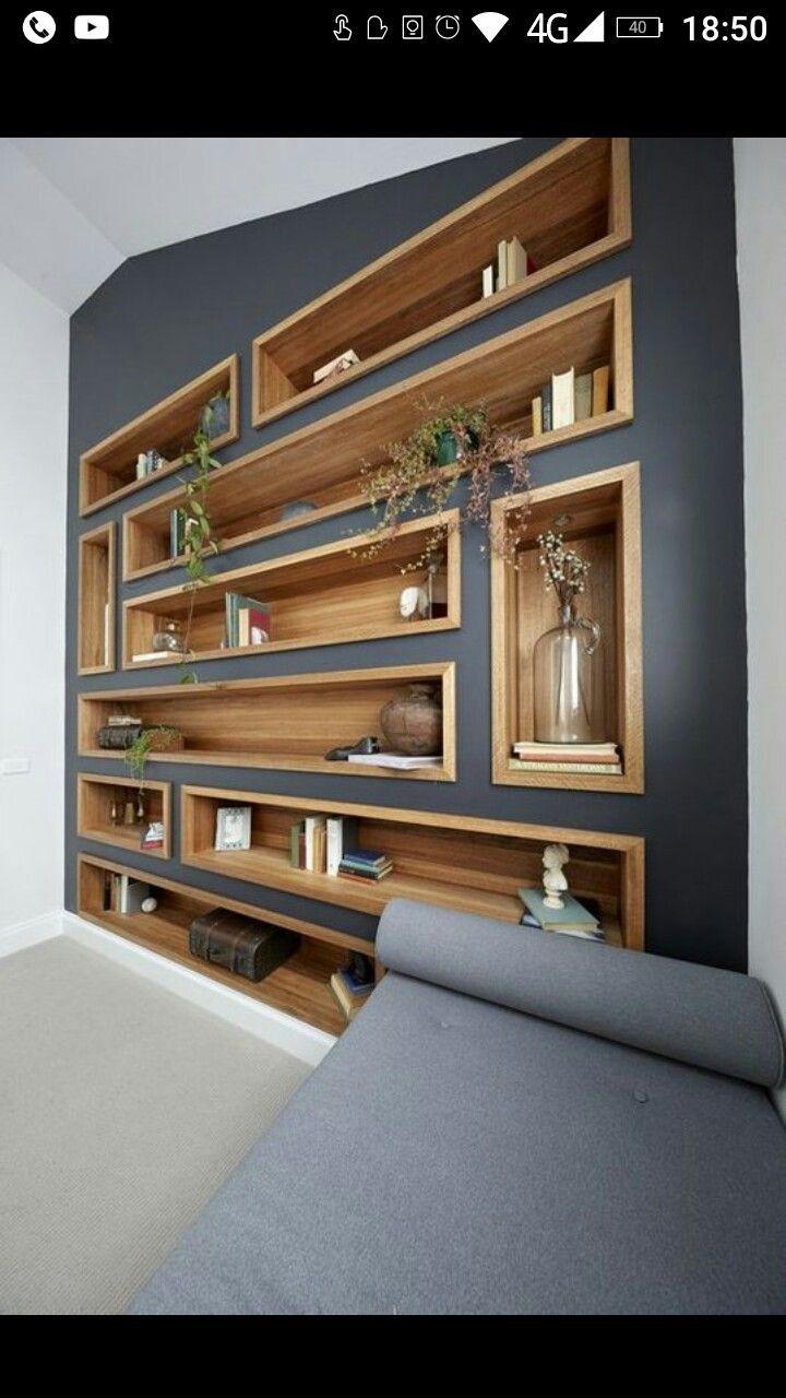 Photo of Mur de la bibliothèque – Wood Designs