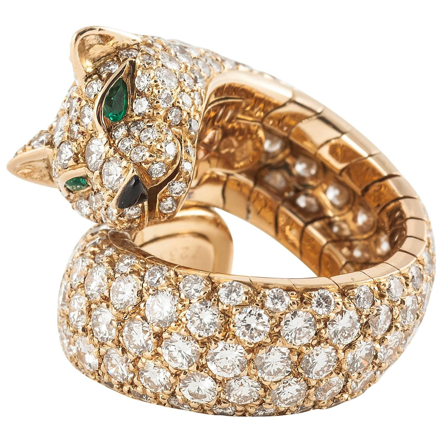 Cartier Panther Enamel Emerald Diamond Gold Ring Just Jewelry