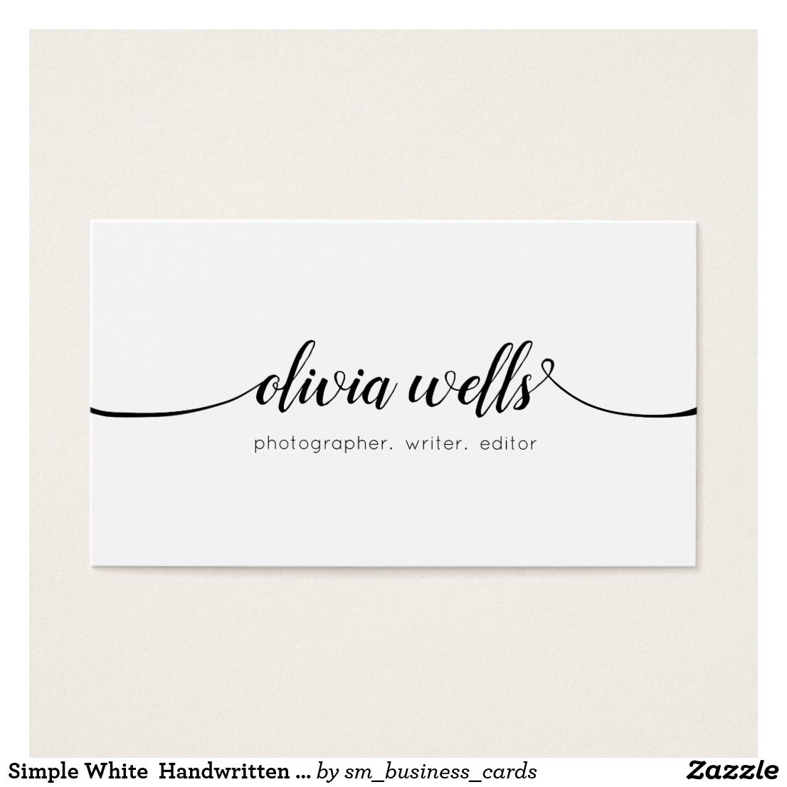 Simple White Handwritten Script Calligraphy Business Card | Business ...
