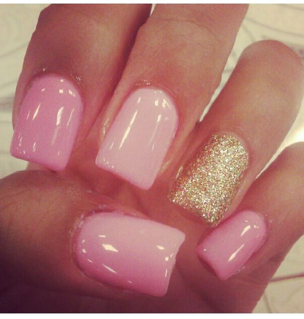 Baby Pink With Gold Accent Nail Gold Acrylic Nails Gold Nail Designs Nail Designs