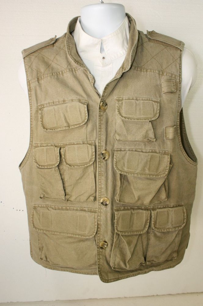 Sold Trail Designs Faded Military Green Safari Vest Mens M 42 Photography Collar 2882