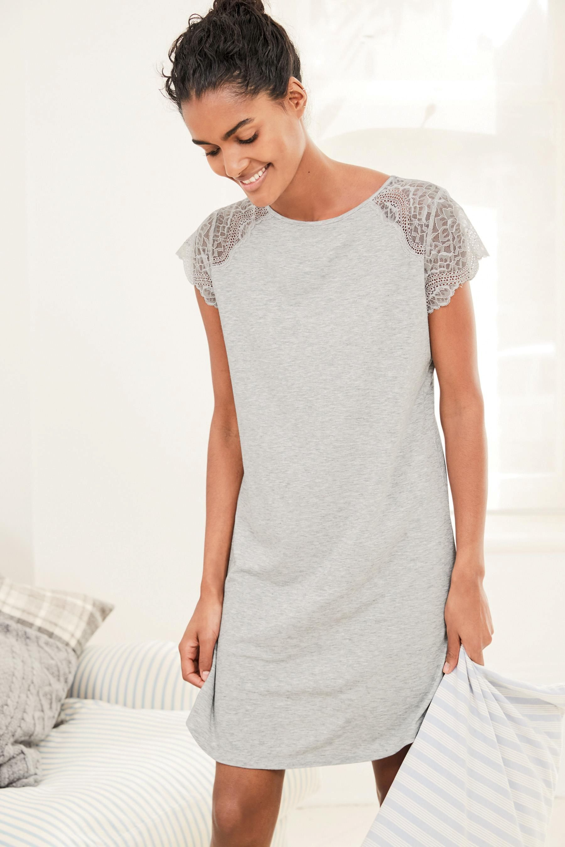 f3228b092 Buy Grey Lace Detail Night Dress from the Next UK online shop ...