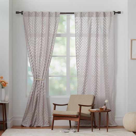 Sheer Chevron Curtain Frost Gray 42 X108 Home Decor Chevron Curtains Curtains And Draperies