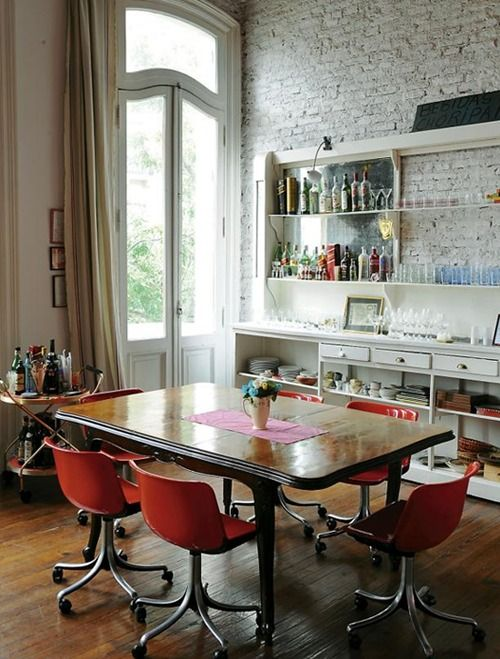 Bar And Table With Red Chairs  So Lovely Why Don't More People Entrancing Dining Room Chairs On Wheels Decorating Design