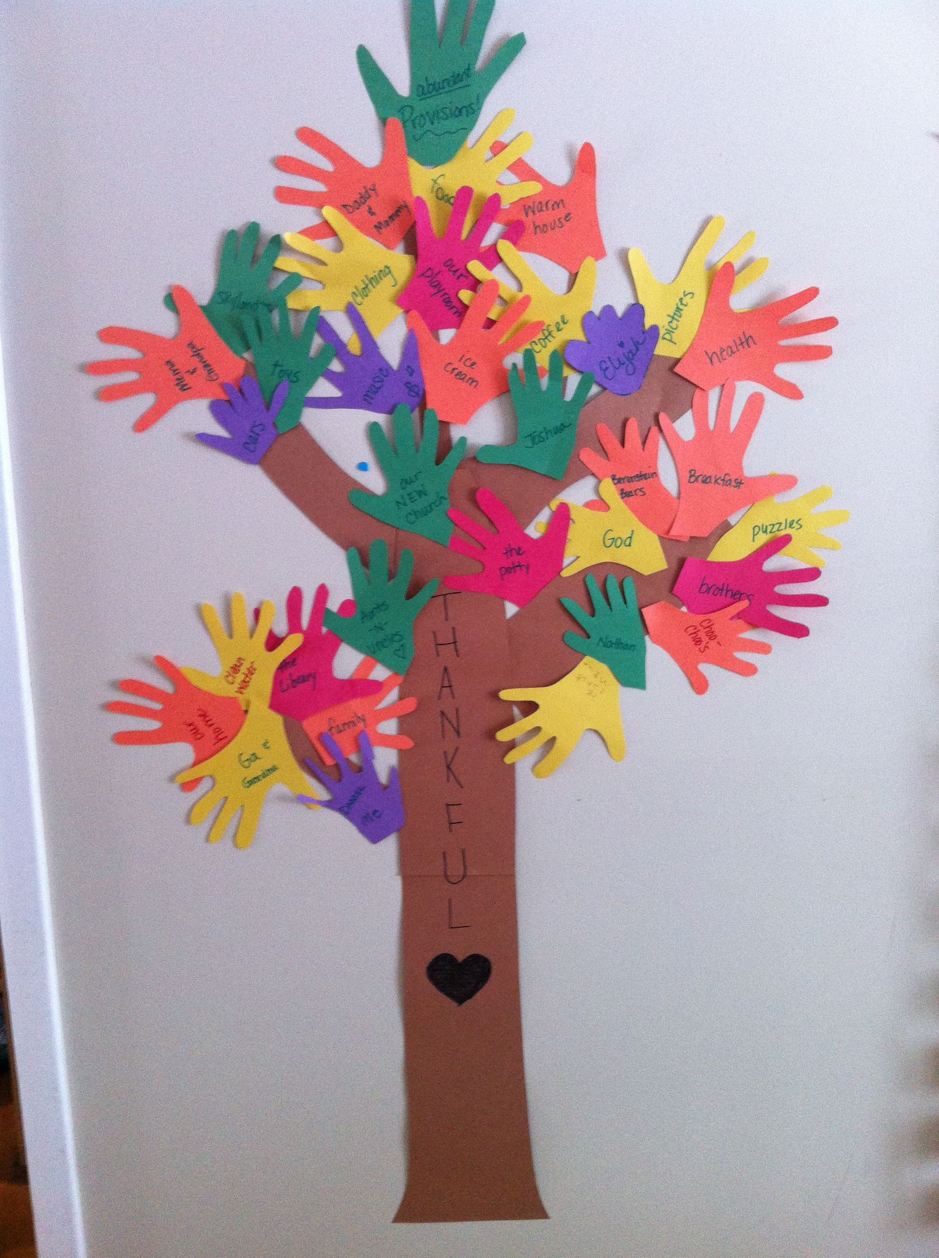 Thankful tree. Made at the beginning of November, kids cut out their hand prints, and each night at dinner we added what we were thankful for!