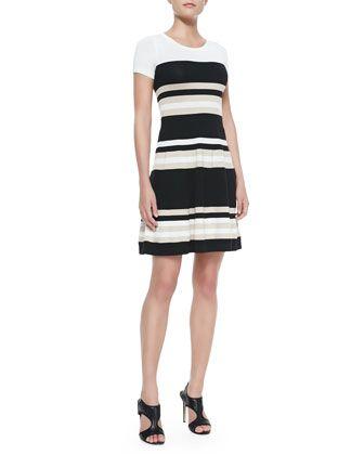 Striped Short Sleeve Flare Dress