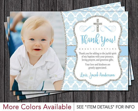 Baptism Thank You Card Boy Baptism Thank You Cards Baby Blue And Silver By Puggyprints Baptism Thank You Cards Boy Baptism Thank You Cards