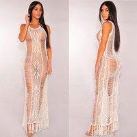 Fashion Women Knit Bikini Cover Up Hollow Out Tassel Dress Coat Swimwear Swimsuit Summer See Through Beach Dress #crochetbeachdress