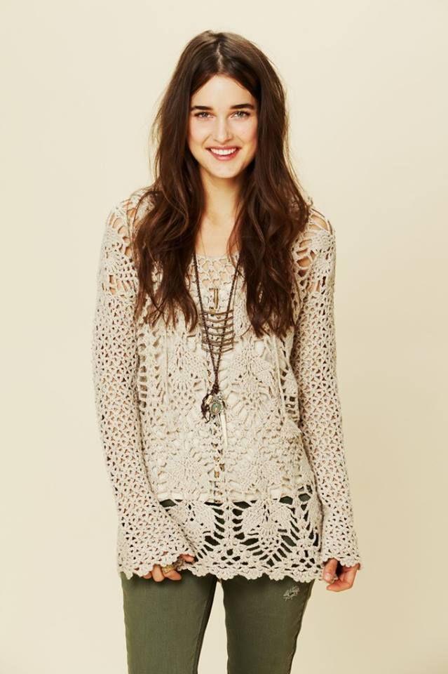 Tina\'s handicraft : summer long sleeve tunic pineapple stitch ...