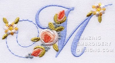 Amazing Embroidery Designs letter M with roses