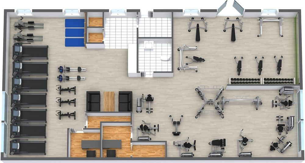Gym Floor Plan Strip Mall Gym Architecture Gym Design