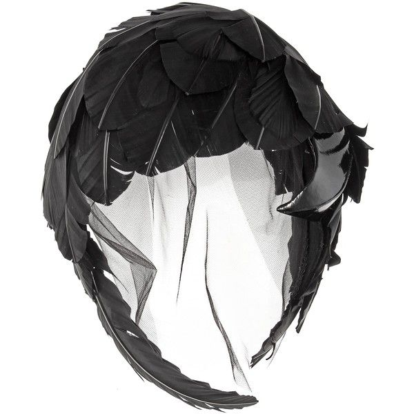 Feather and tulle fascinator ❤ liked on Polyvore featuring accessories, hair accessories, thom browne, feather fascinator, feather hair accessories, fascinator hat and hair fascinators