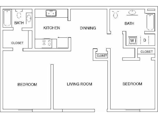 Spacious 2 Bedroom 2 Full Bath 1040 Square Feet Great Room Mate Design 799 Mt View Apartments Tusc Apartment Floor Plan Two Bedroom Apartments Floor Plans