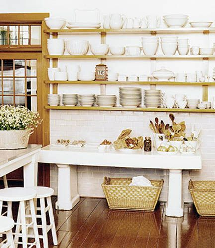 retro modern kitchen decorating ideas, open kitchen shelves for