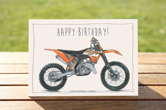 Motorcycle Birthday Card Ktm 125sx Dirt Bike A6 By Dailybikers