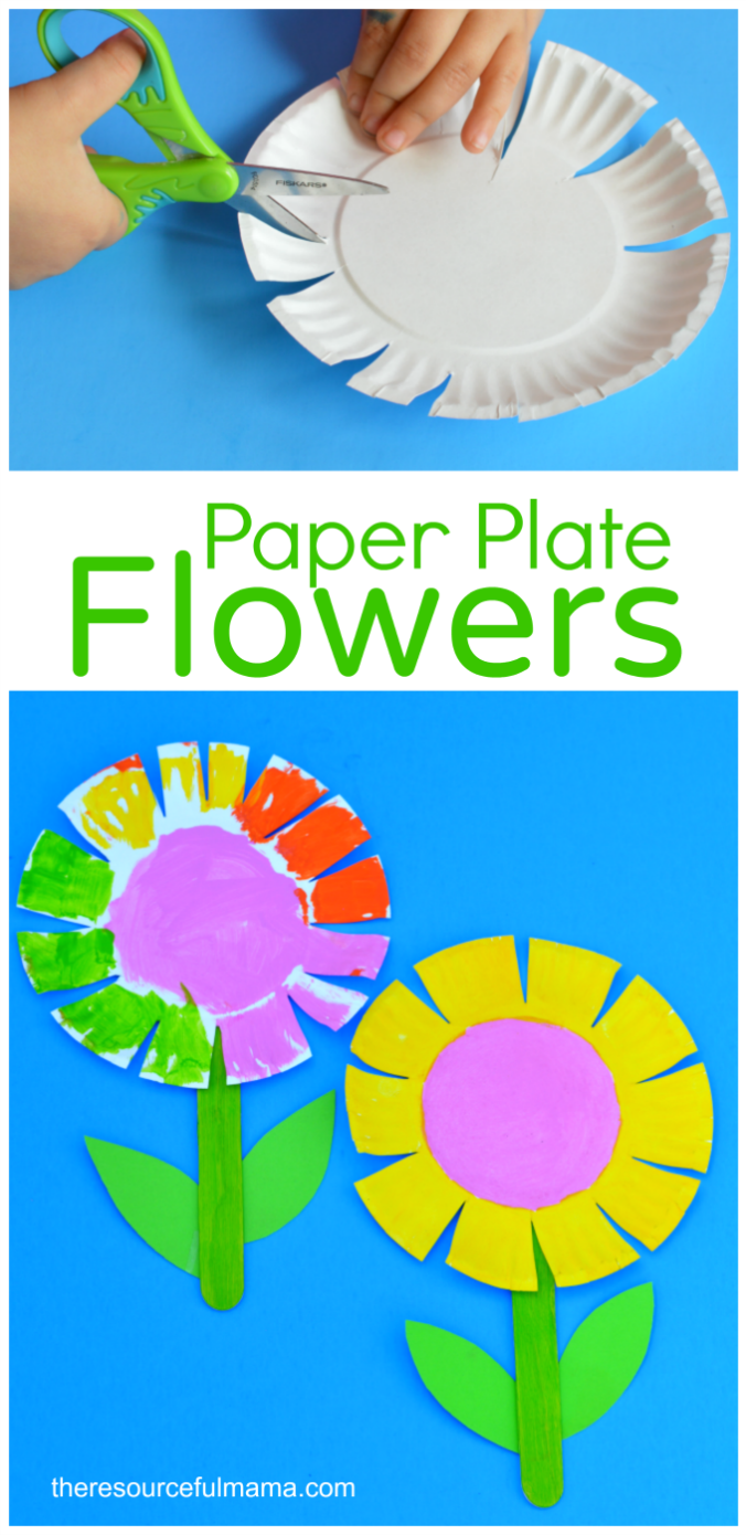 This paper plate flower craft is a great spring and summer craft for kids. It offers kids a great opportunity to work on scissor skills. #toddlercrafts