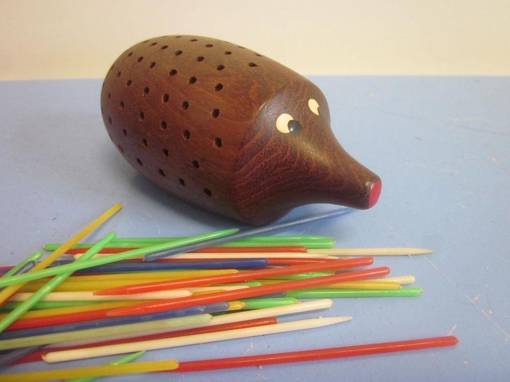 Mid-century modernist TEAK toothpick holder hedgehog Denmark era Henriksen 50s