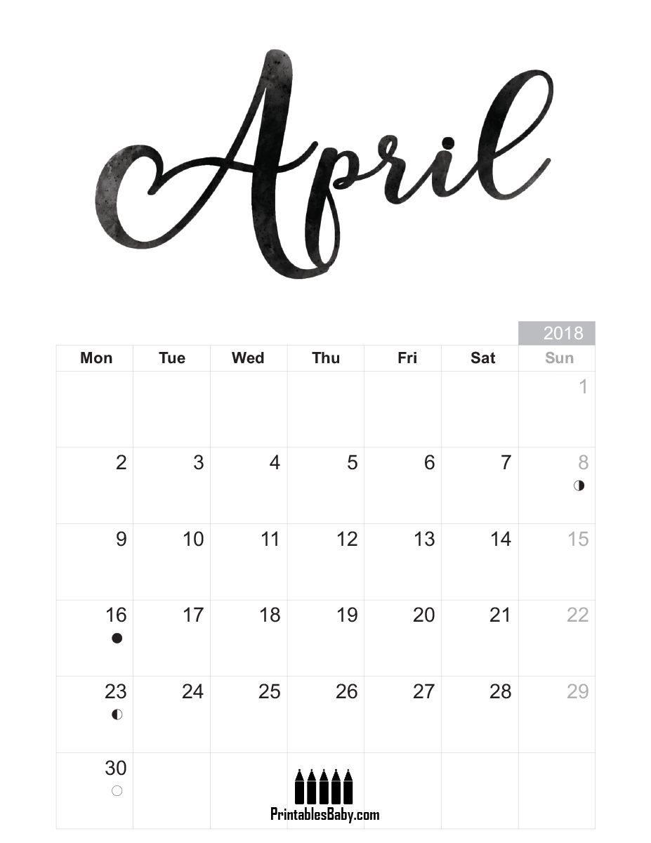April 2018 Calendar Printables Baby Free Printable Posters And Coloring Pages Calendar Printables April Calendar Printable Bullet Journal Ideas Handwriting