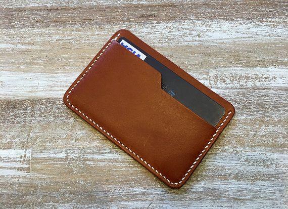 porte carte en cuir Cousu à la main portefeuille minimaliste, Rabat portefeuille