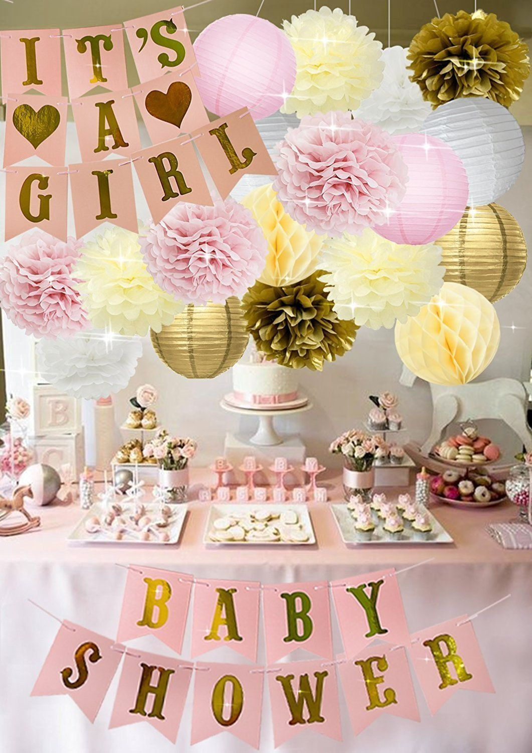 Full 37 Piece Set A Complete Baby Shower Decoration Kit With